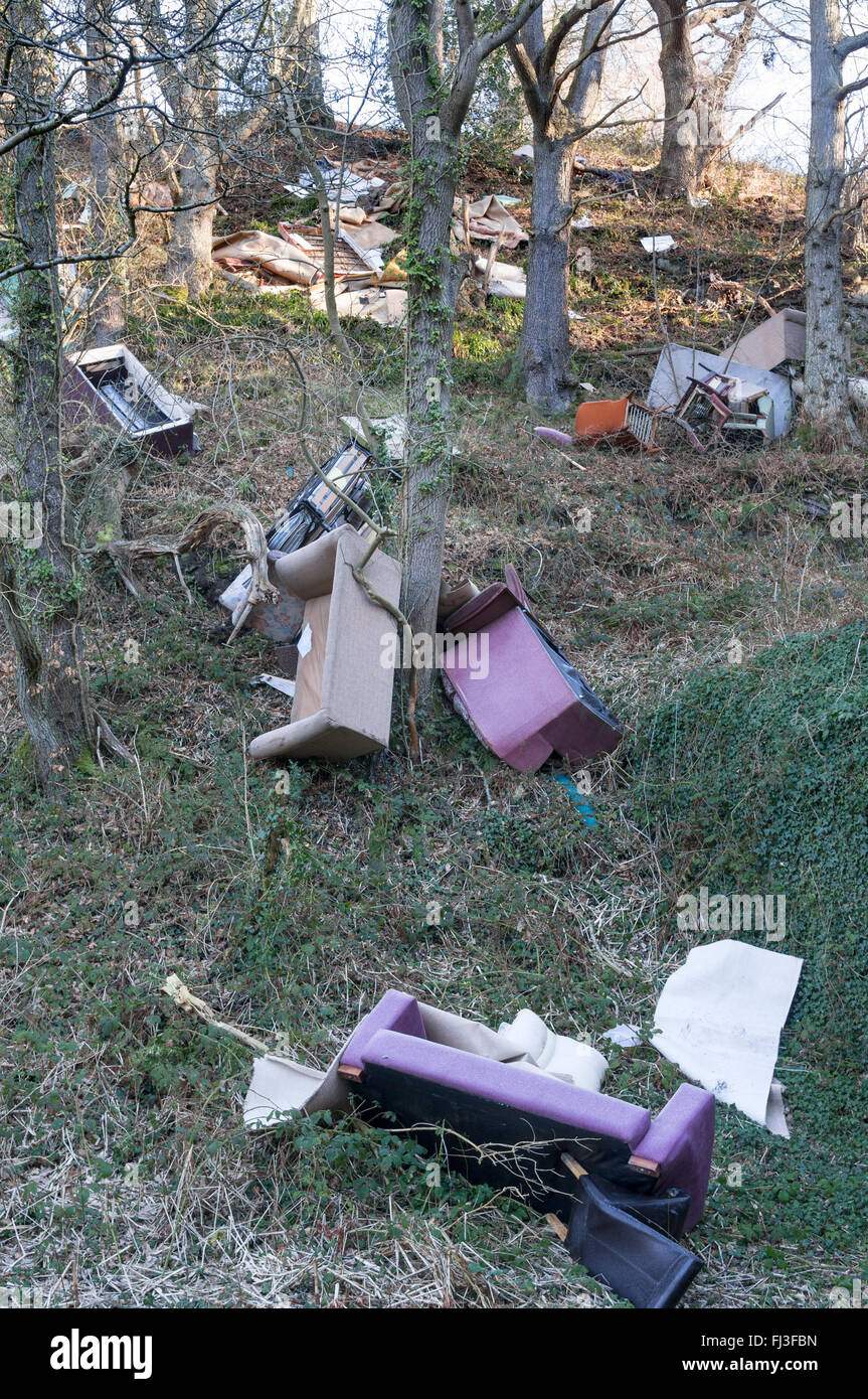 Domestic furniture dumped by fly tippers down the bank of a river valley in Co. Durham, North East England, UK - Stock Image