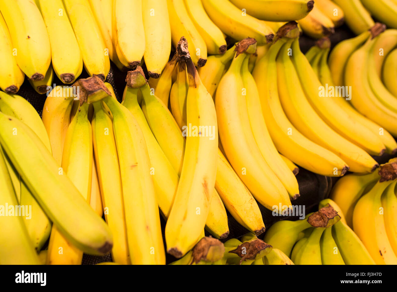 bunches of bananas in a supermarket - Stock Image