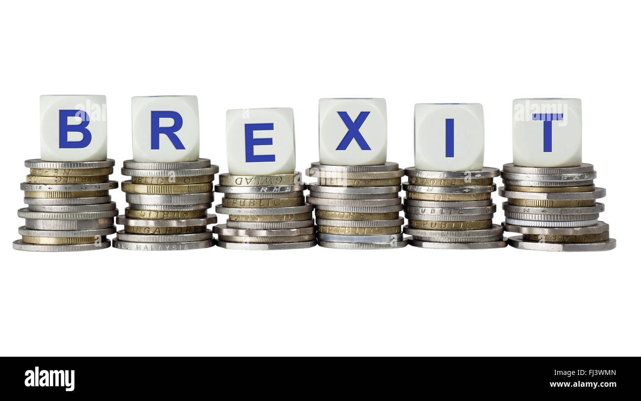 Stacks of coins with the word BREXIT, refering to the possibility of Great Britain leaving the European Union - Stock Image