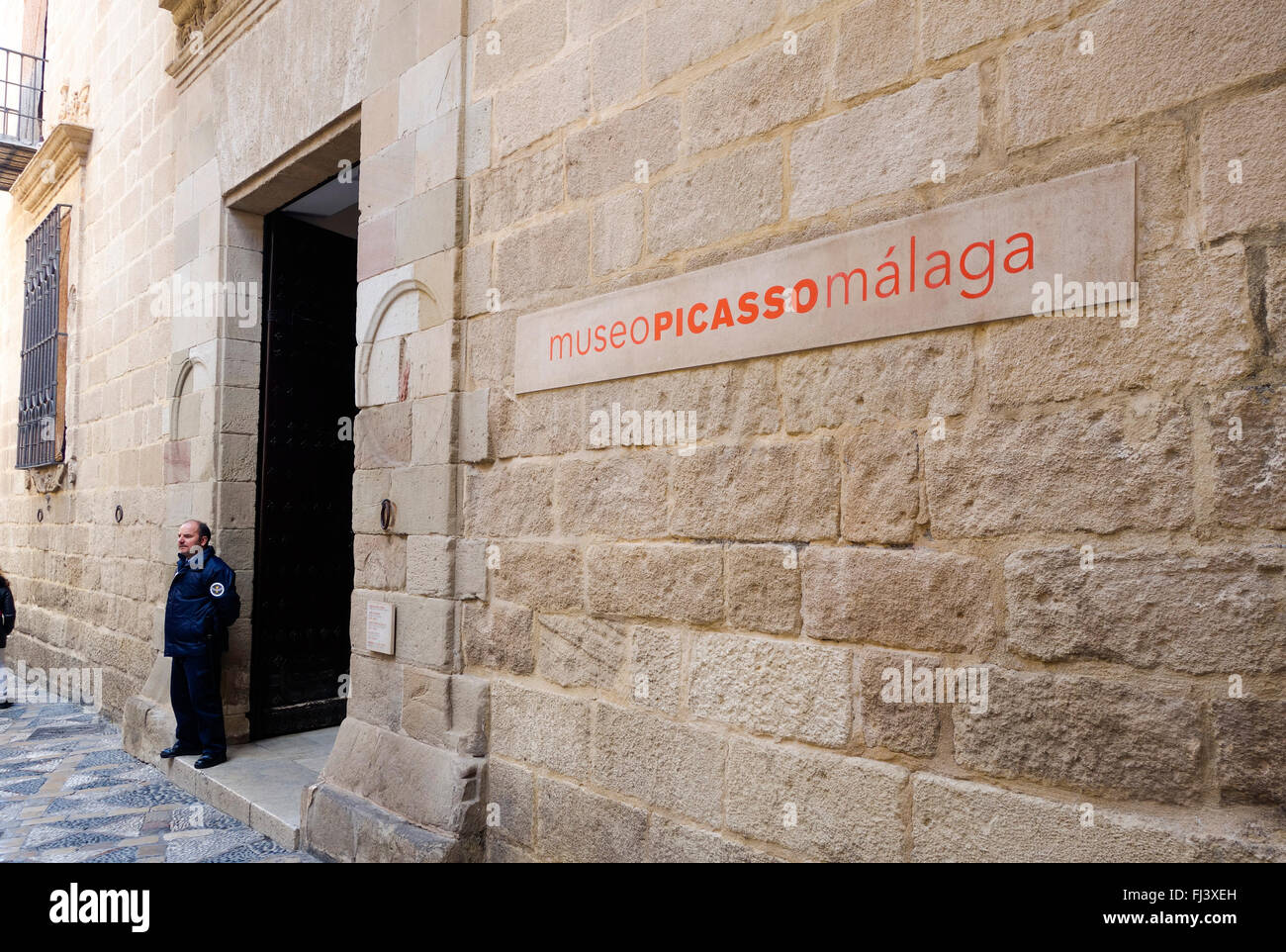 Museo Picasso Malaga.Guard Outside The Entrance Buenavista Palace Housing Museo Picasso