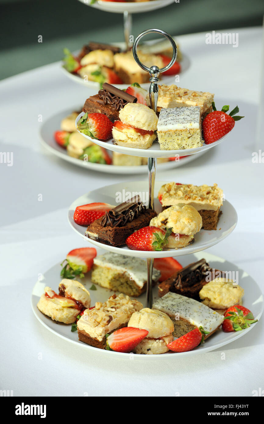 fancy cakes on a plate - Stock Image