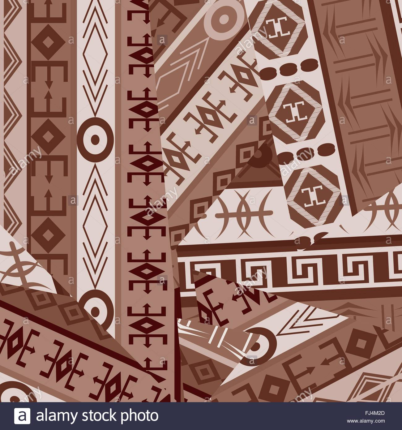 Ethnic ornaments patches in brown tones - Stock Image