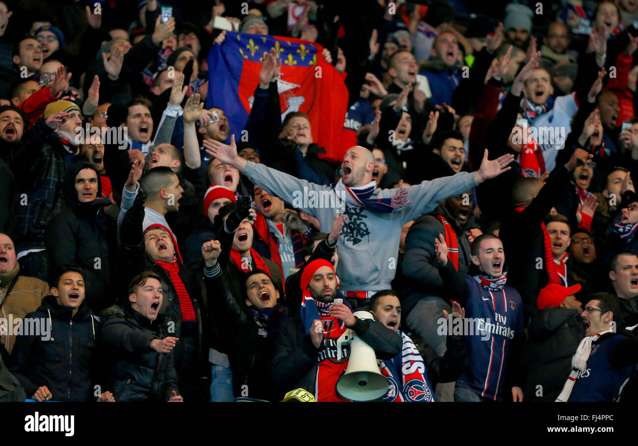 Psg Fans Singing During The Uefa Champions League Round Of 16 Match Stock Photo Alamy