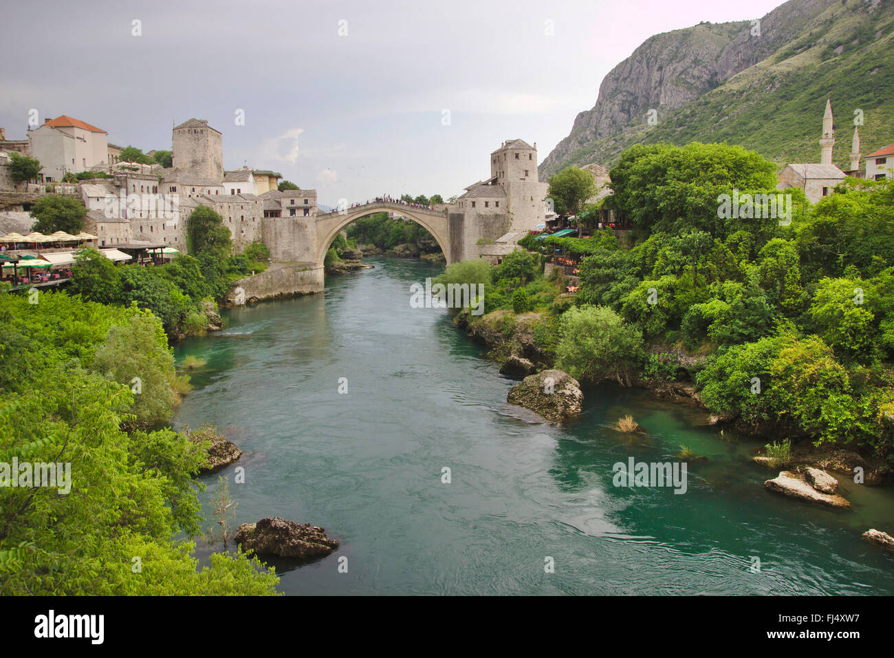 Stari Most, old bridge of Mostar, Bosnia and Herzegovina, Mostar - Stock Image