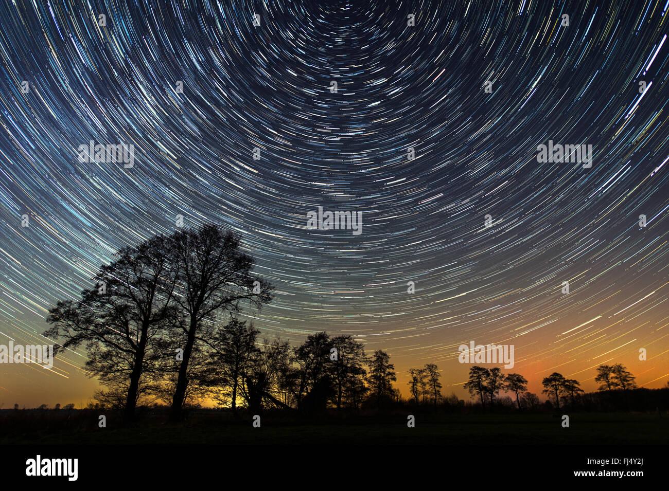 starry sky, longtime exposure, Germany, Lower Saxony - Stock Image