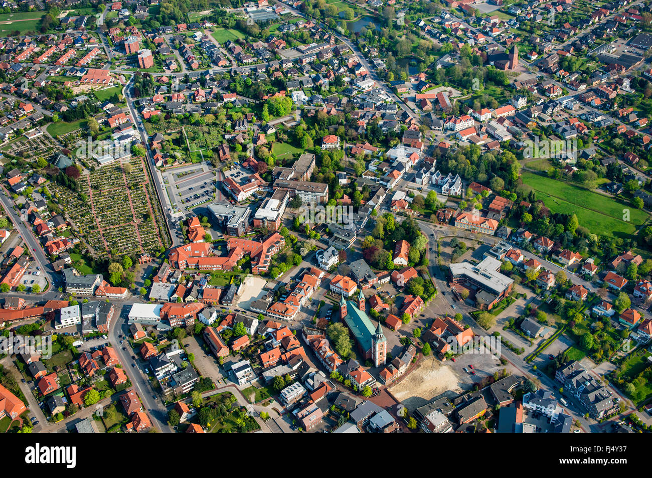 city centre of Lohne in Landkreis Vechta, aerial view, Germany, Lower Saxony, Oldenburger Muensterland, Lohne - Stock Image