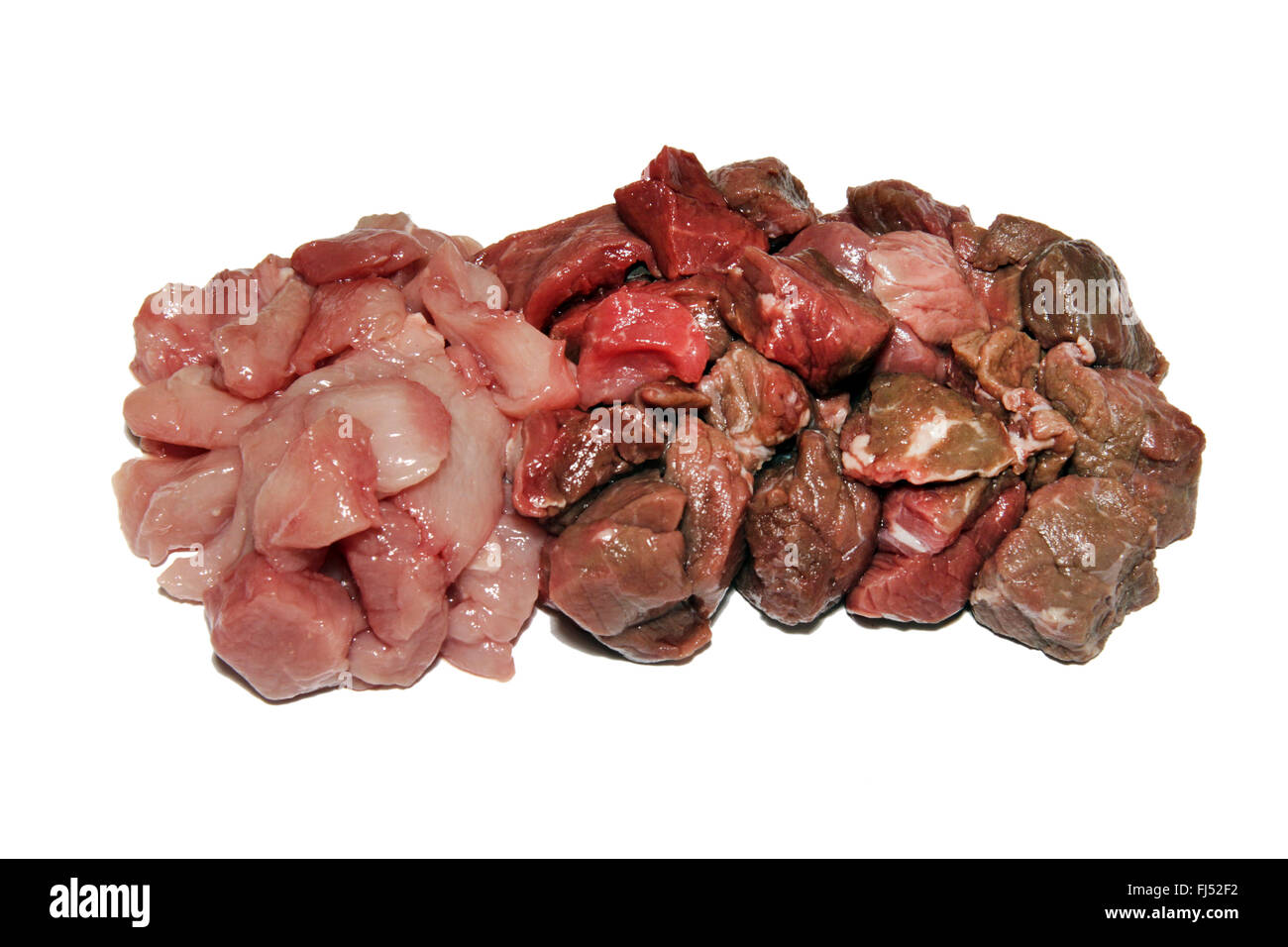 raw poultry meat, pork and beef - Stock Image