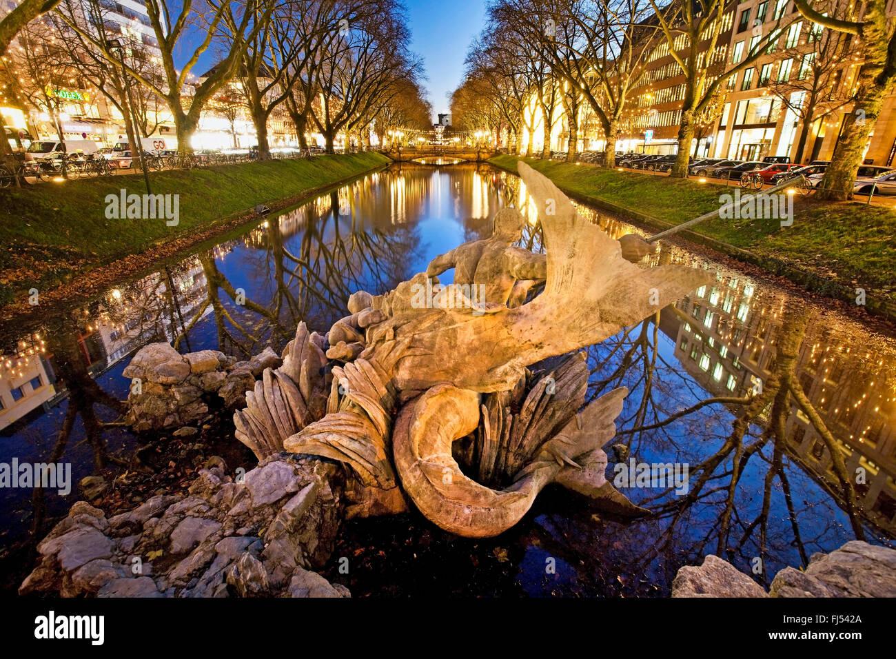 Triton Fountain of Koenigsallee, Germany, North Rhine-Westphalia, Duesseldorf Stock Photo