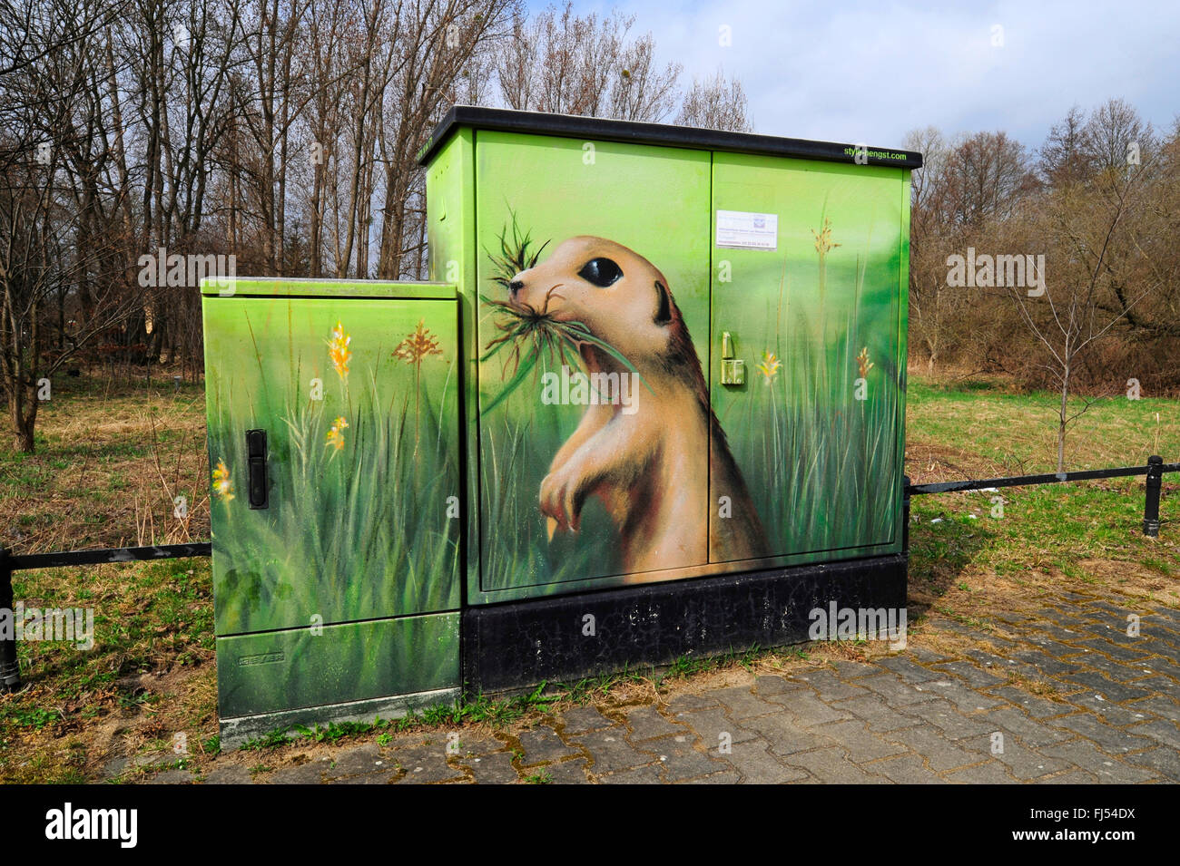 ground squirrels, susliks, sousliks (Citellus spec., Spermophilus spec.), painted on a power distribution board, Stock Photo