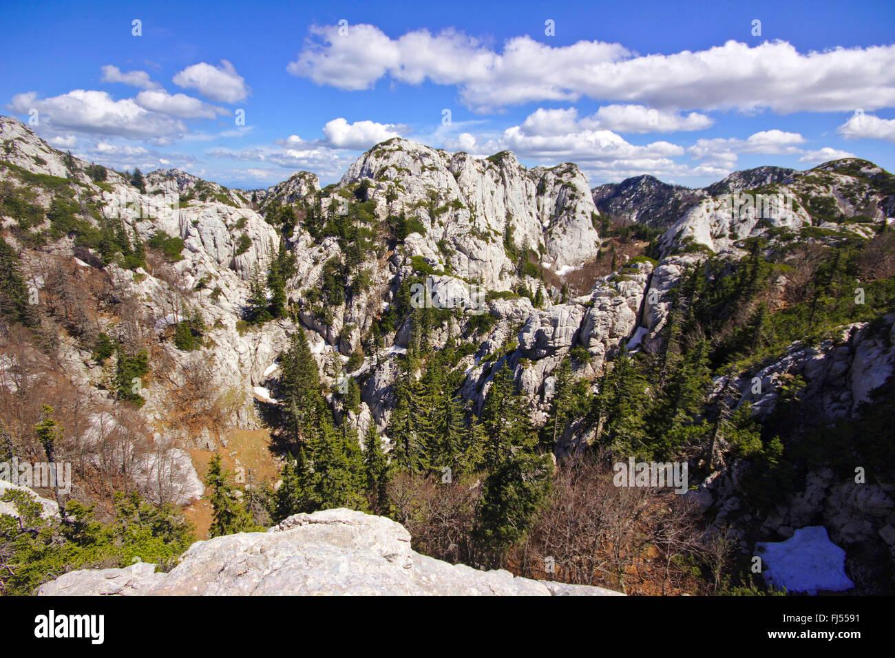 dolina in karst landscape, Croatia, Northern Velebit National Park Stock Photo