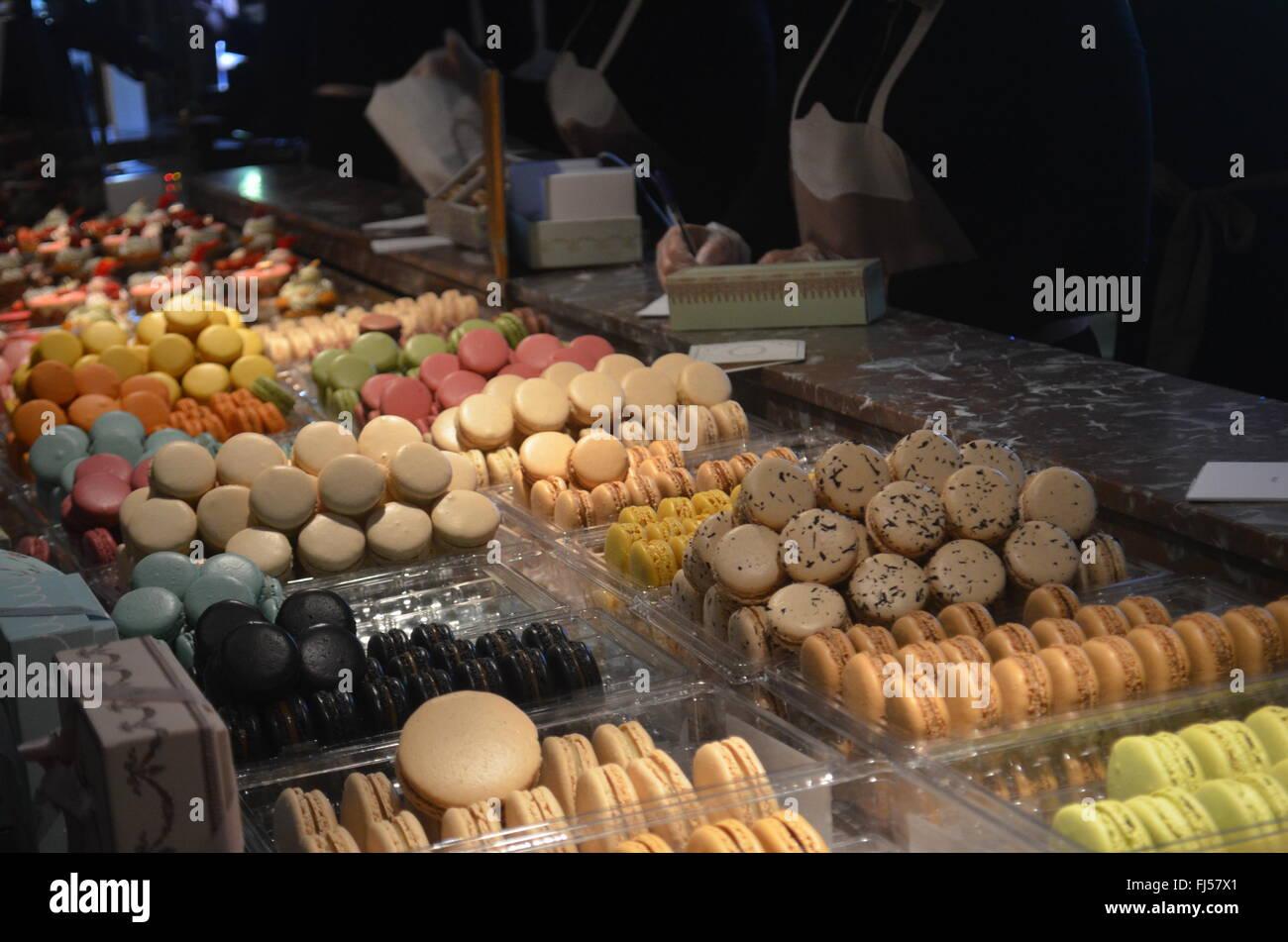 Macarons in Ladureé, Paris - Stock Image