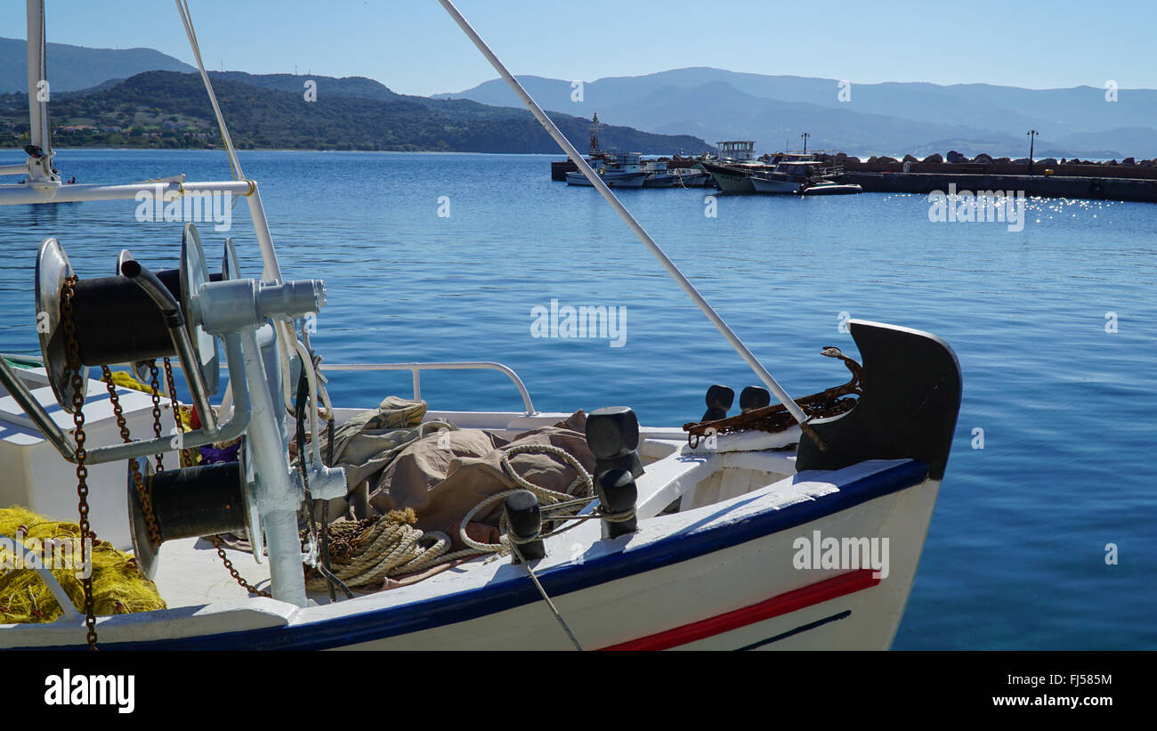 View of Molyvos, Mythimna. Lesvos, Greece. Boats in the bay. - Stock Image