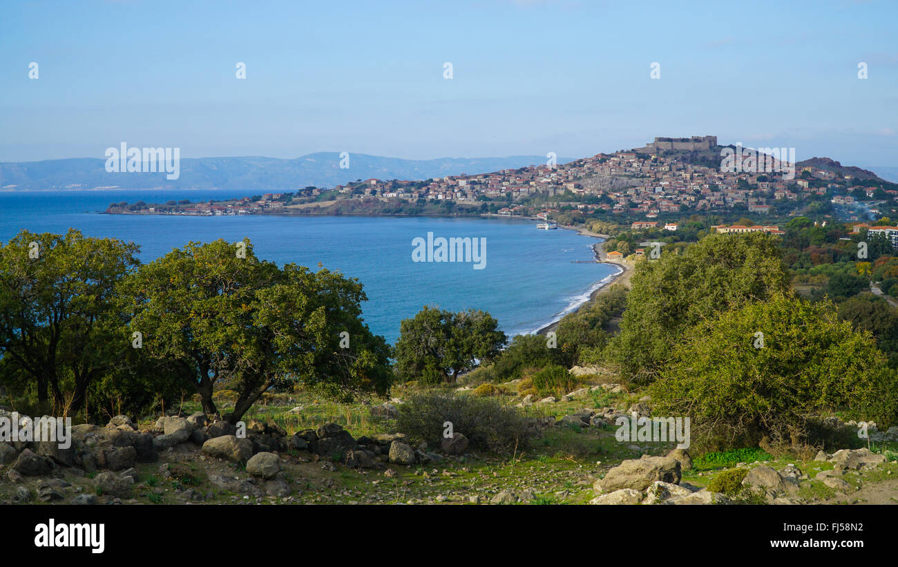 View of Mythimna, Lesvos. Greece. Bay and old town. - Stock Image