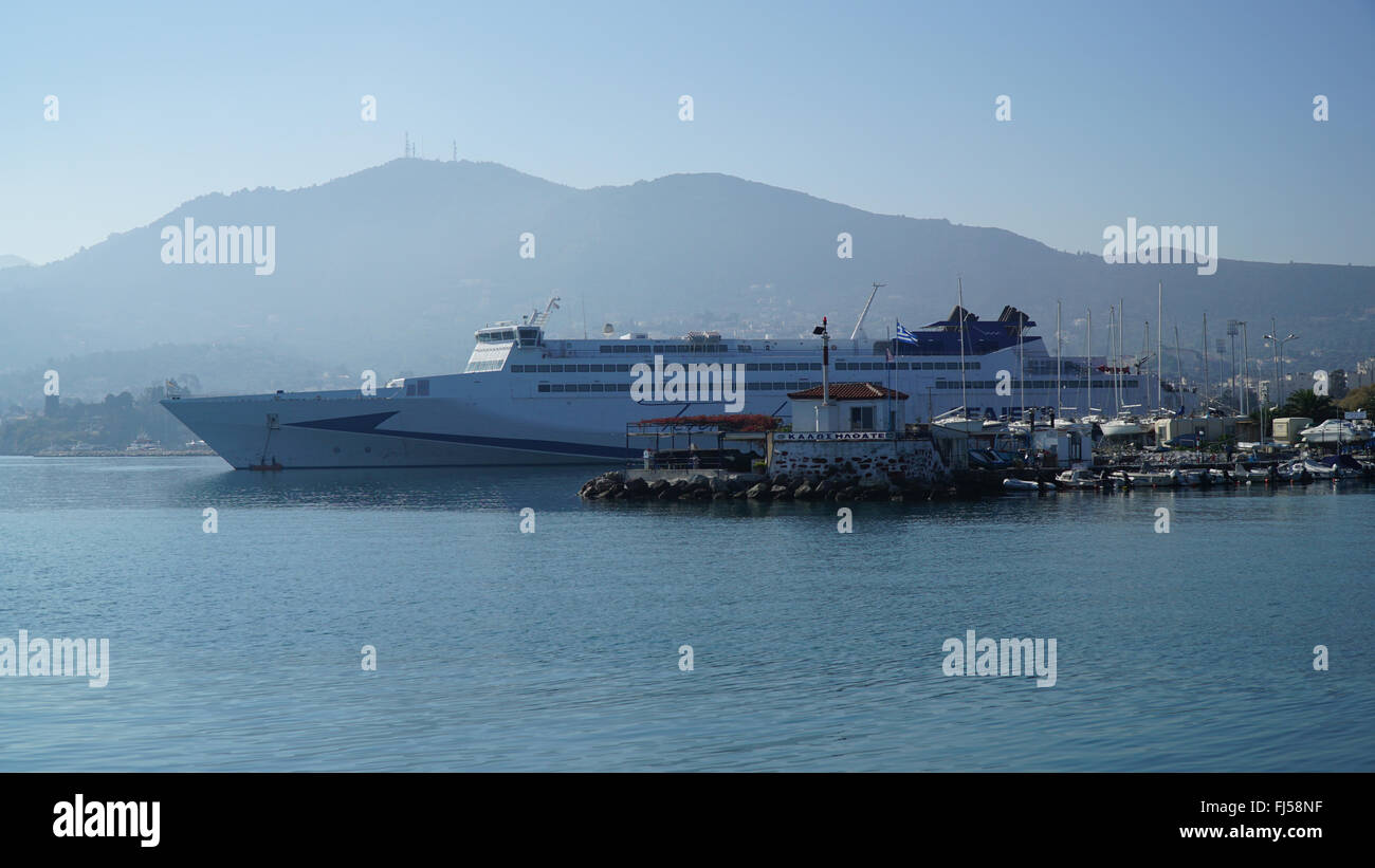 Mytilini is the capital of Lesvos. The center of the city. Ferry in the port. - Stock Image