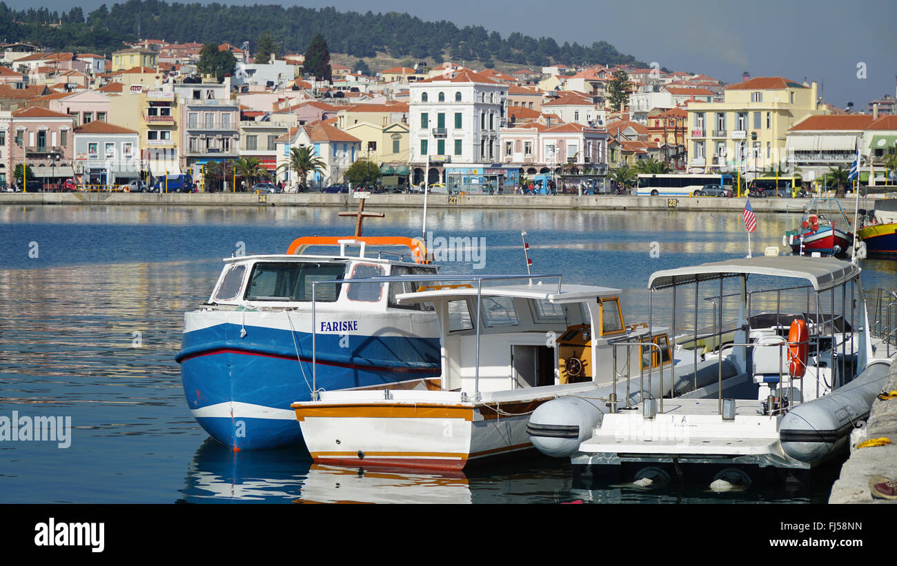 Mytilene is the capital of Lesvos. The center of the city. Bay. Views of the waterfront. - Stock Image