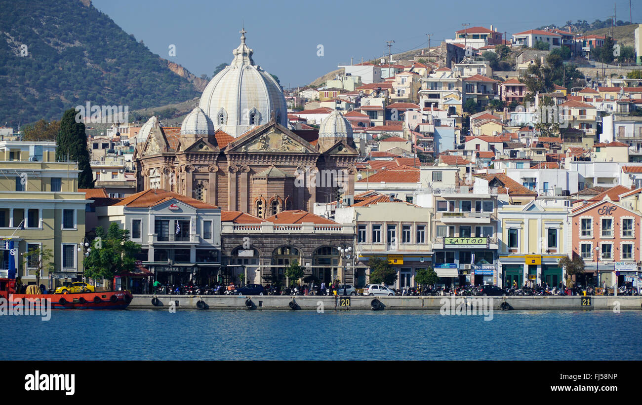 Mytilini is the capital of Lesvos. The center of the city. Bay. Views of the waterfront. - Stock Image