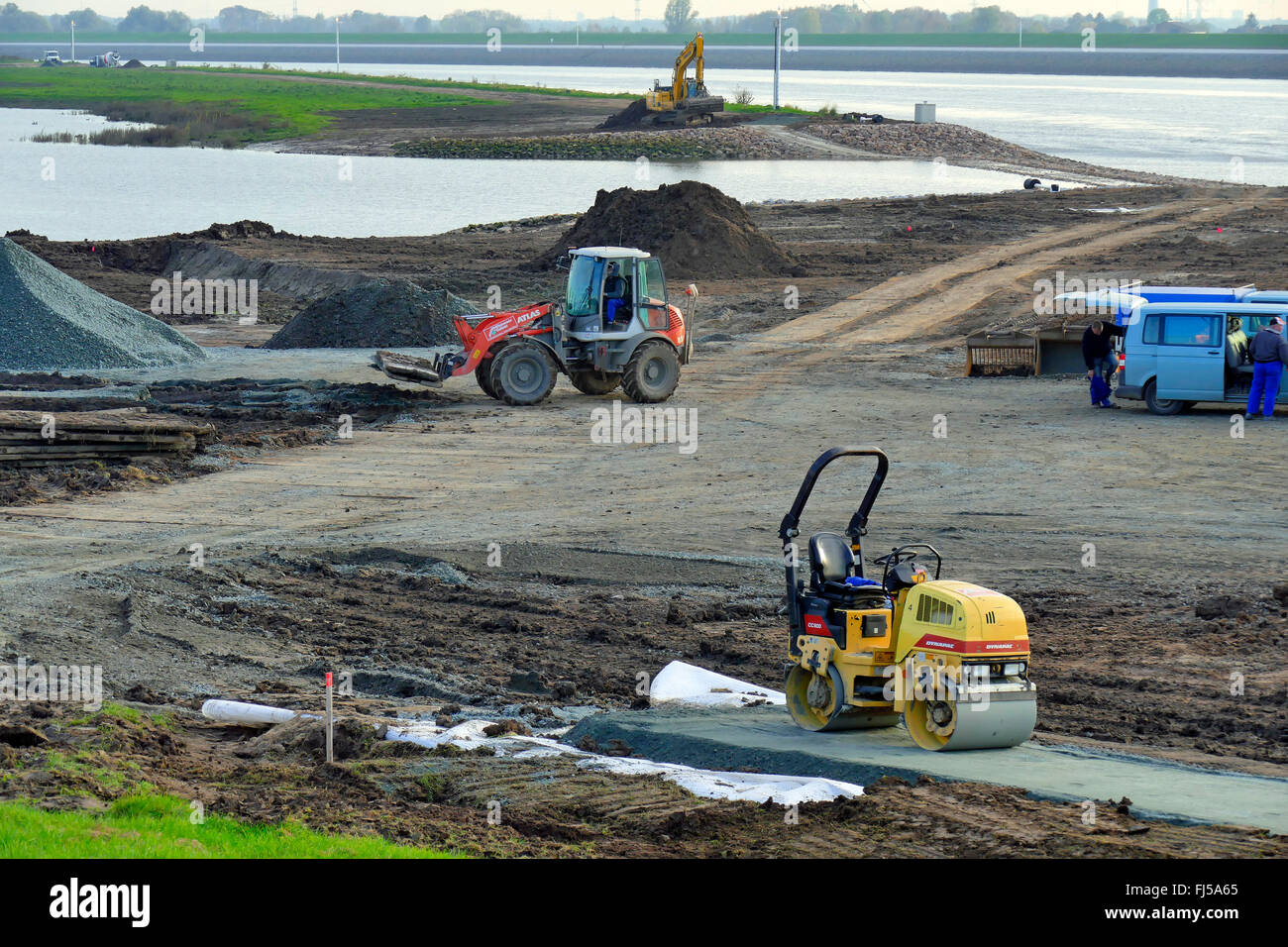 dyke construction and reinforcement at the Wederland. In the background the river Weser, Germany, Bremen-Lesum - Stock Image