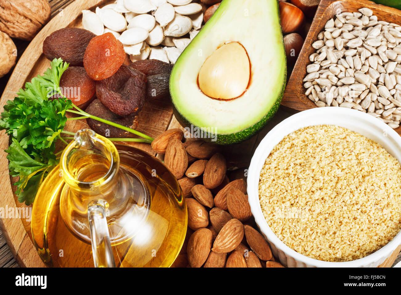Foods rich in vitamin E - Stock Image