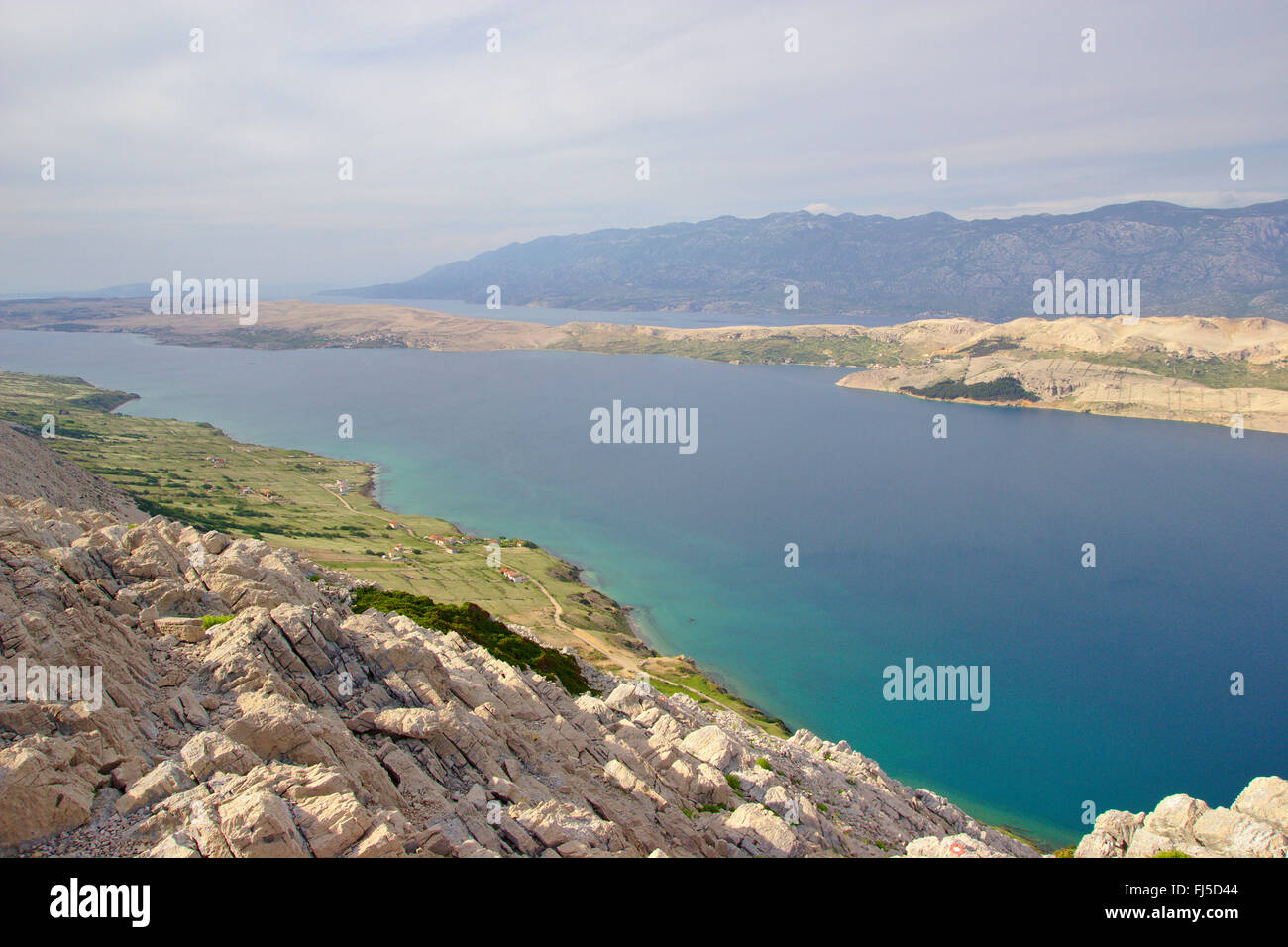 view from Sveti Vid mountain to Pag island and Velebit mountains, Croatia - Stock Image