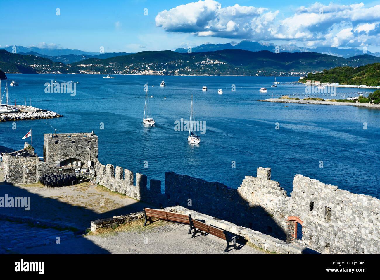 View of the Gulf of Poets and Portovenere town, La Spezia, near Cinque Terre, Liguria, Italy - Stock Image