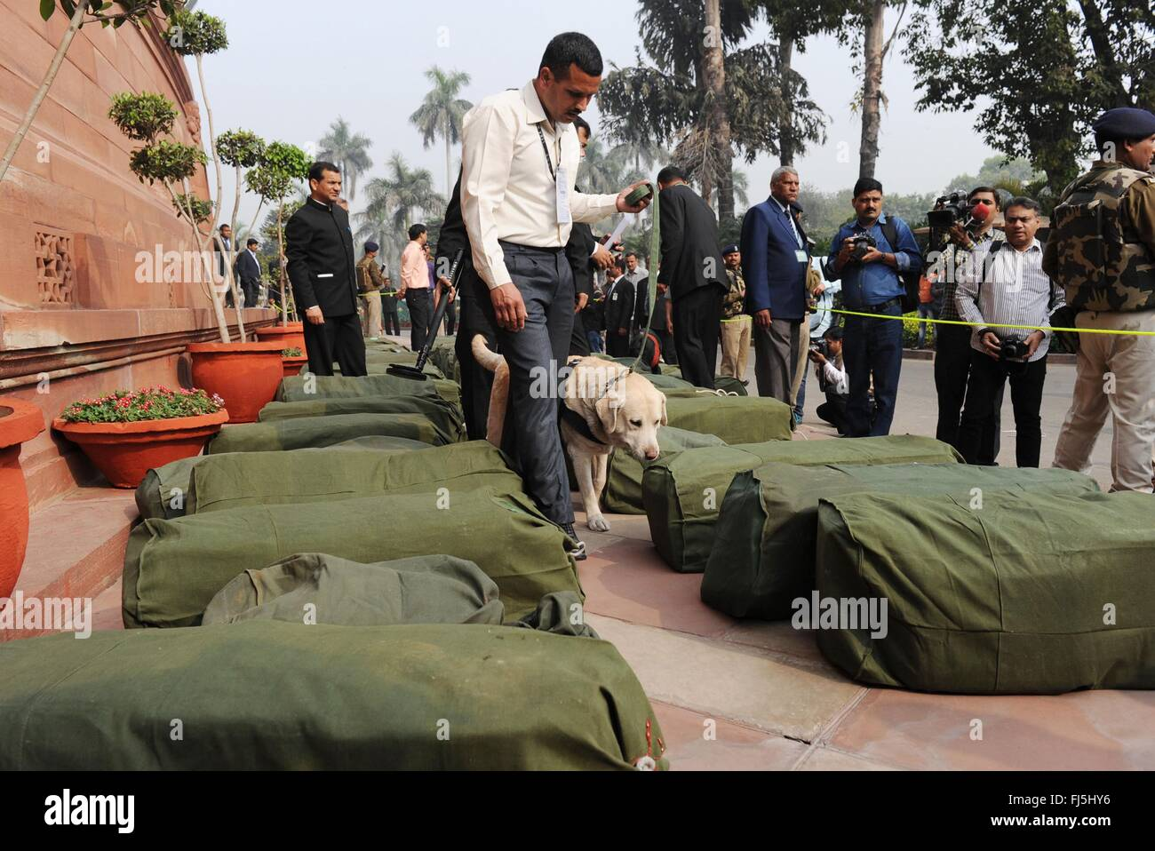 New Delhi, India. 29th Feb, 2016. Bags containing the Indian Federal Budget are checked by a bomb sniffing dog as - Stock Image
