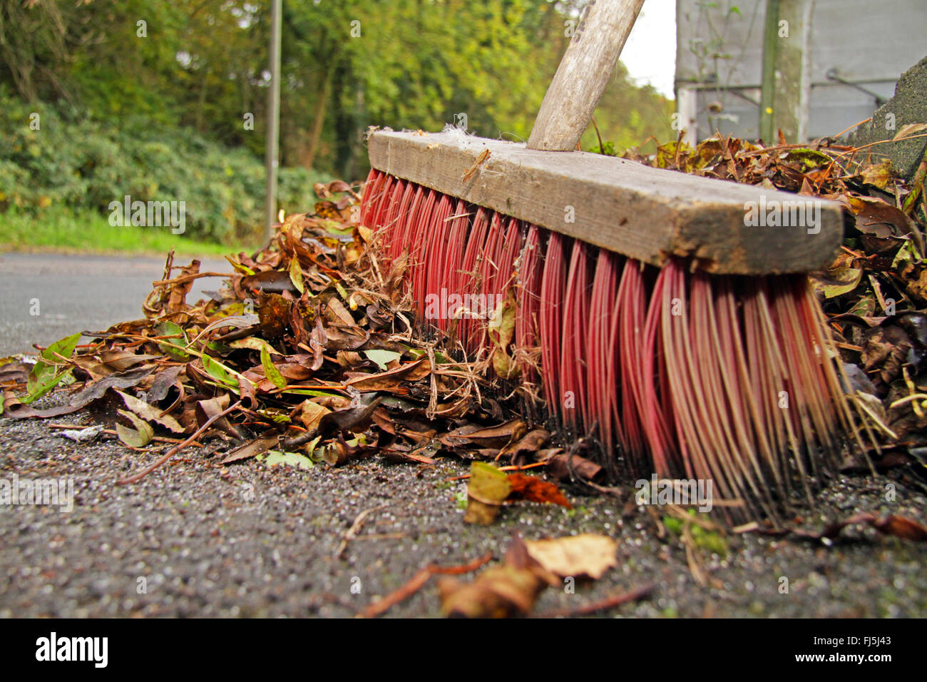 road broom for sweeping leaves, Germany - Stock Image