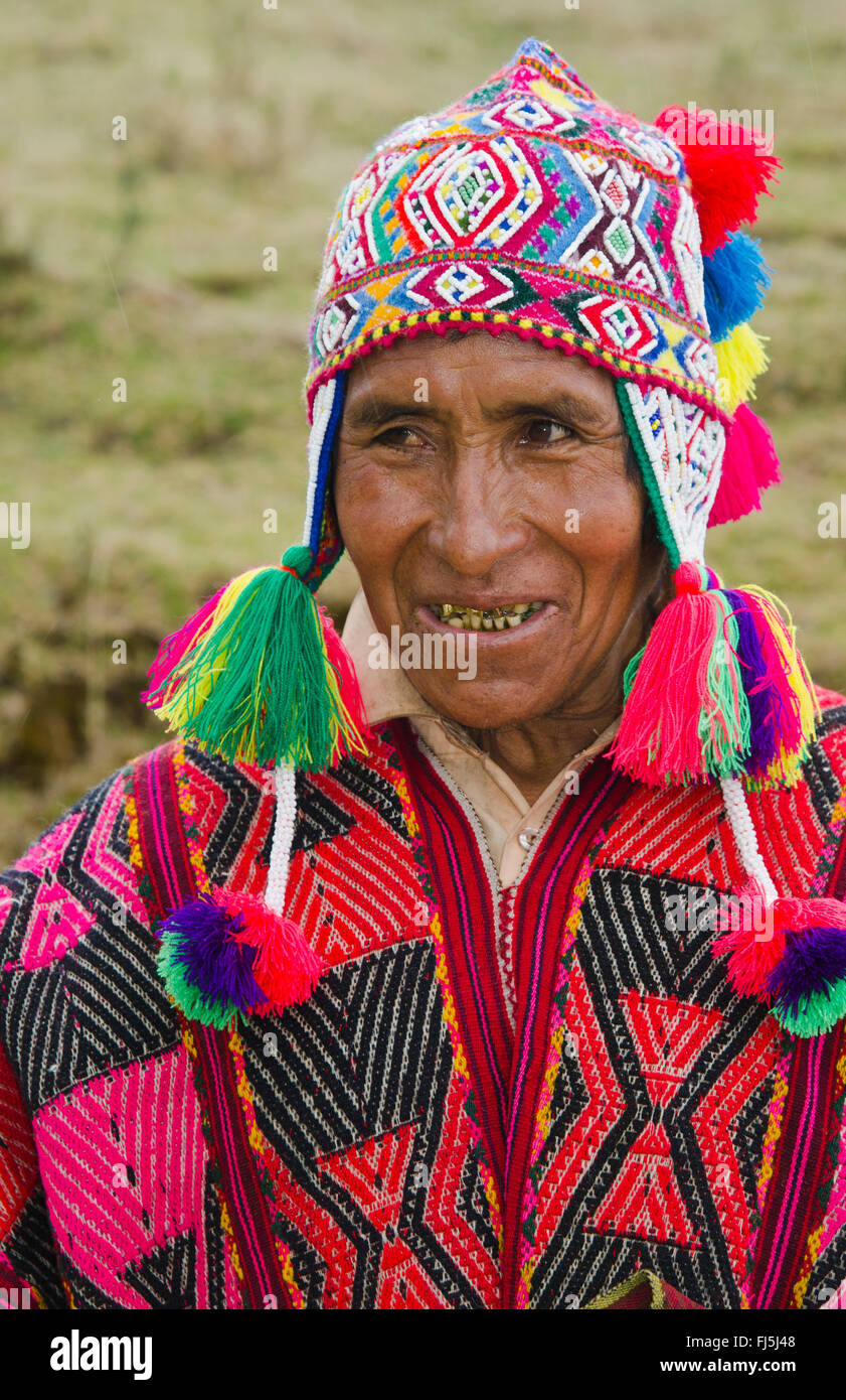 Shaman In Traditional Clothing Portrait Peru Cuzco