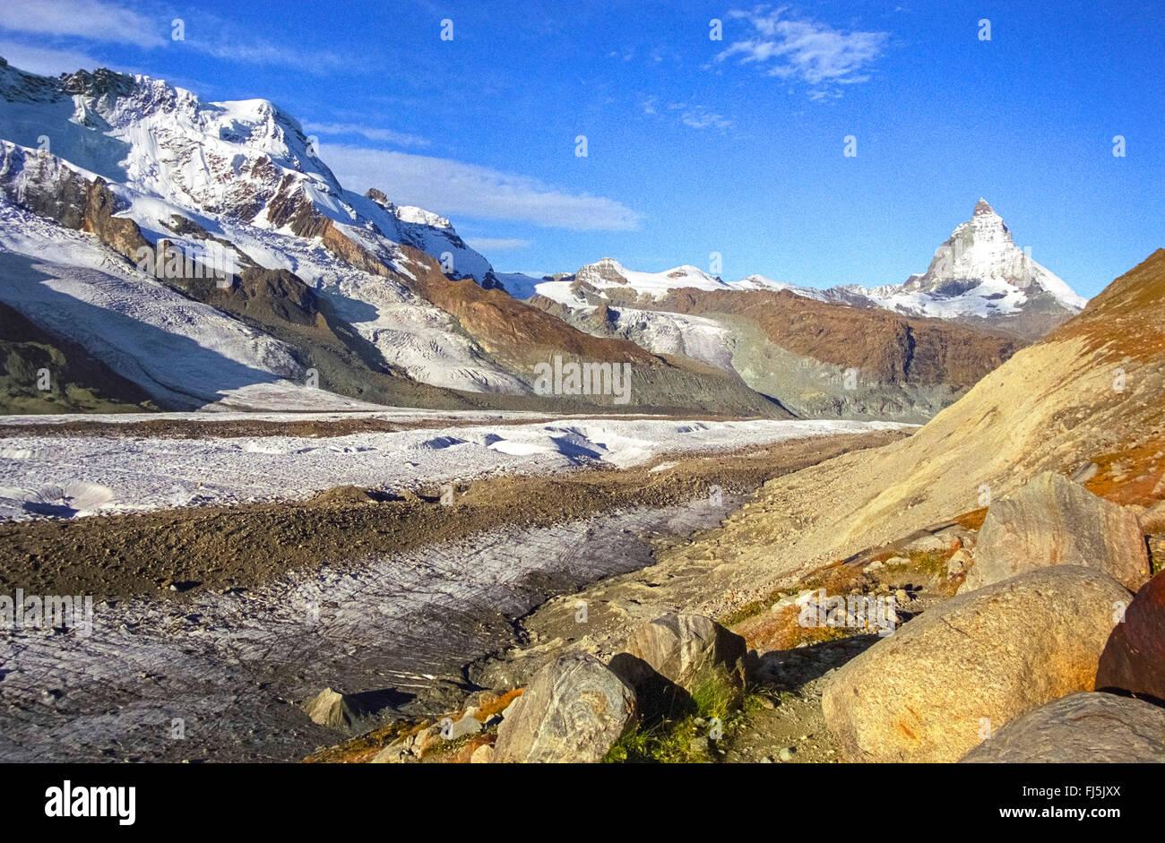 Gorner Glacier and Matterhorn, Switzerland, Oberwallis - Stock Image