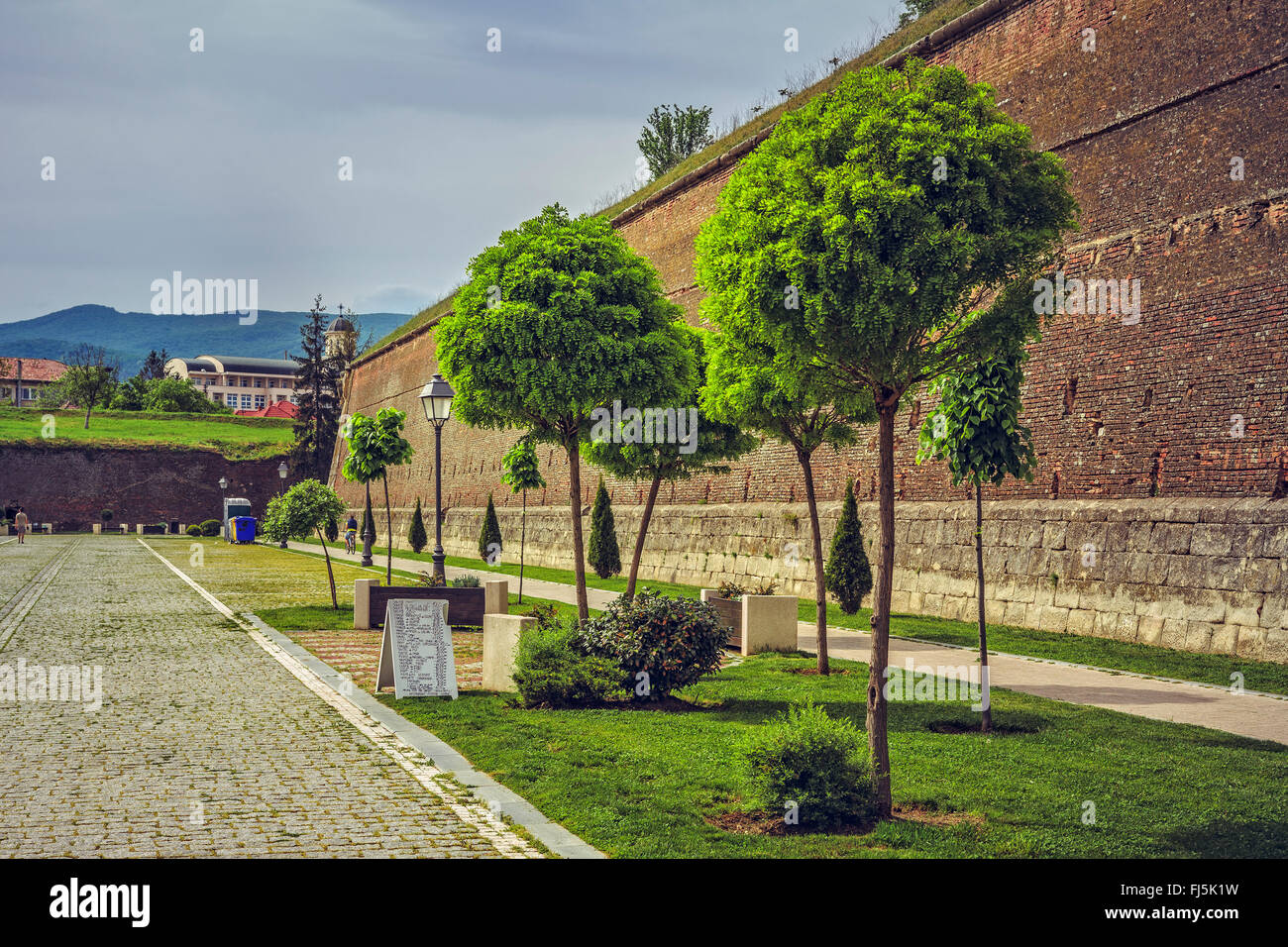ALBA IULIA, ROMANIA - MAY 6, 2015: The fortification walls (about 12 km in perimeter) and promenades of the bulwark - Stock Image