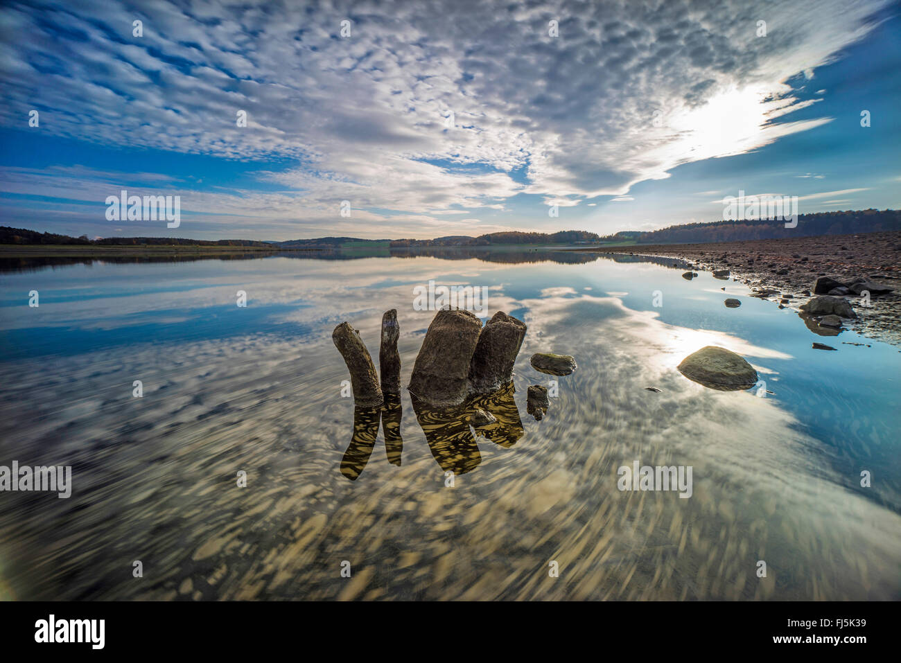 cloud formation over a lake, Germany, Saxony, Jocketa, Talsperre Poehl - Stock Image