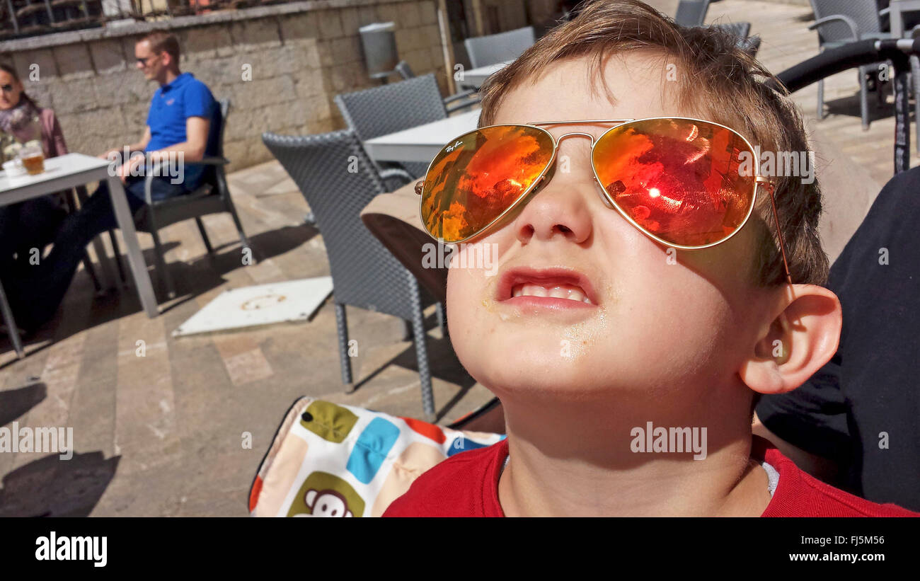 little boy with cool sunglass, Netherlands - Stock Image