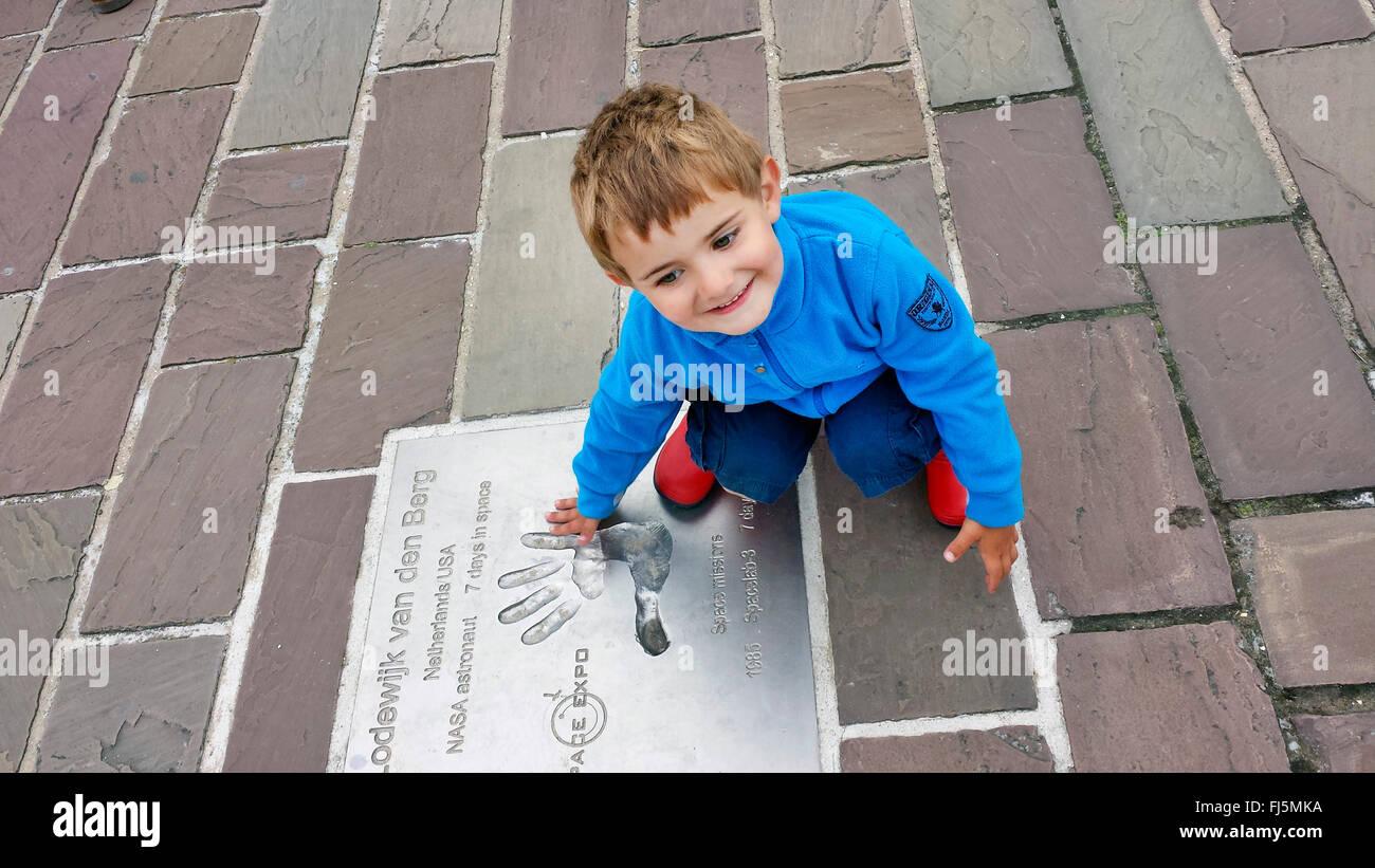 little boy on a commemorative plate , Netherlands Stock Photo
