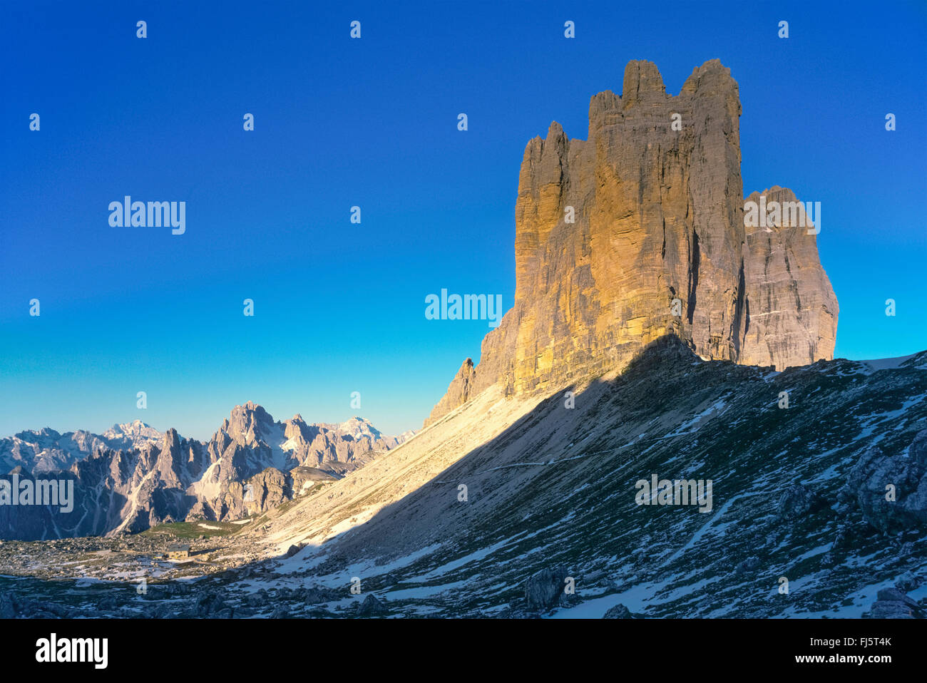 Tre Cime di Lavaredo, Italy, South Tyrol, Dolomites - Stock Image