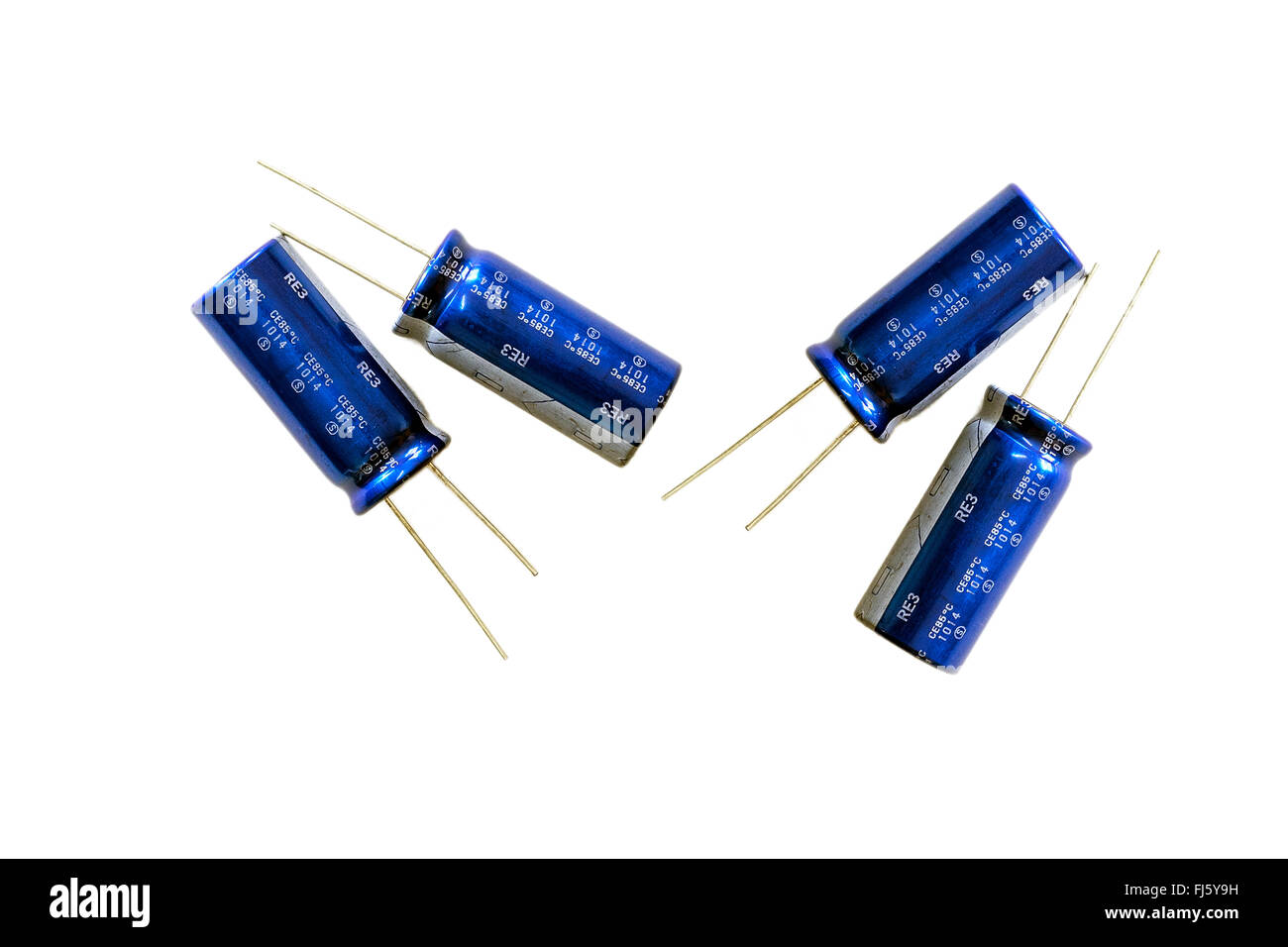 Group of capacitors isolated on white background. - Stock Image