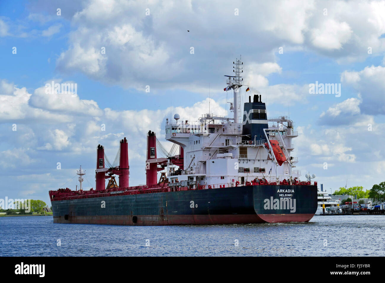 bulk carrier on River Weser, Germany, Weser, Bremen - Stock Image