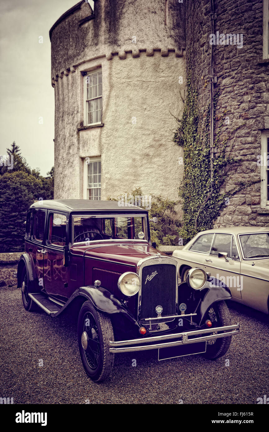 An old Austin 10 at Picton castle Vintage car rally, Pembrokeshire, Wales. Stock Photo