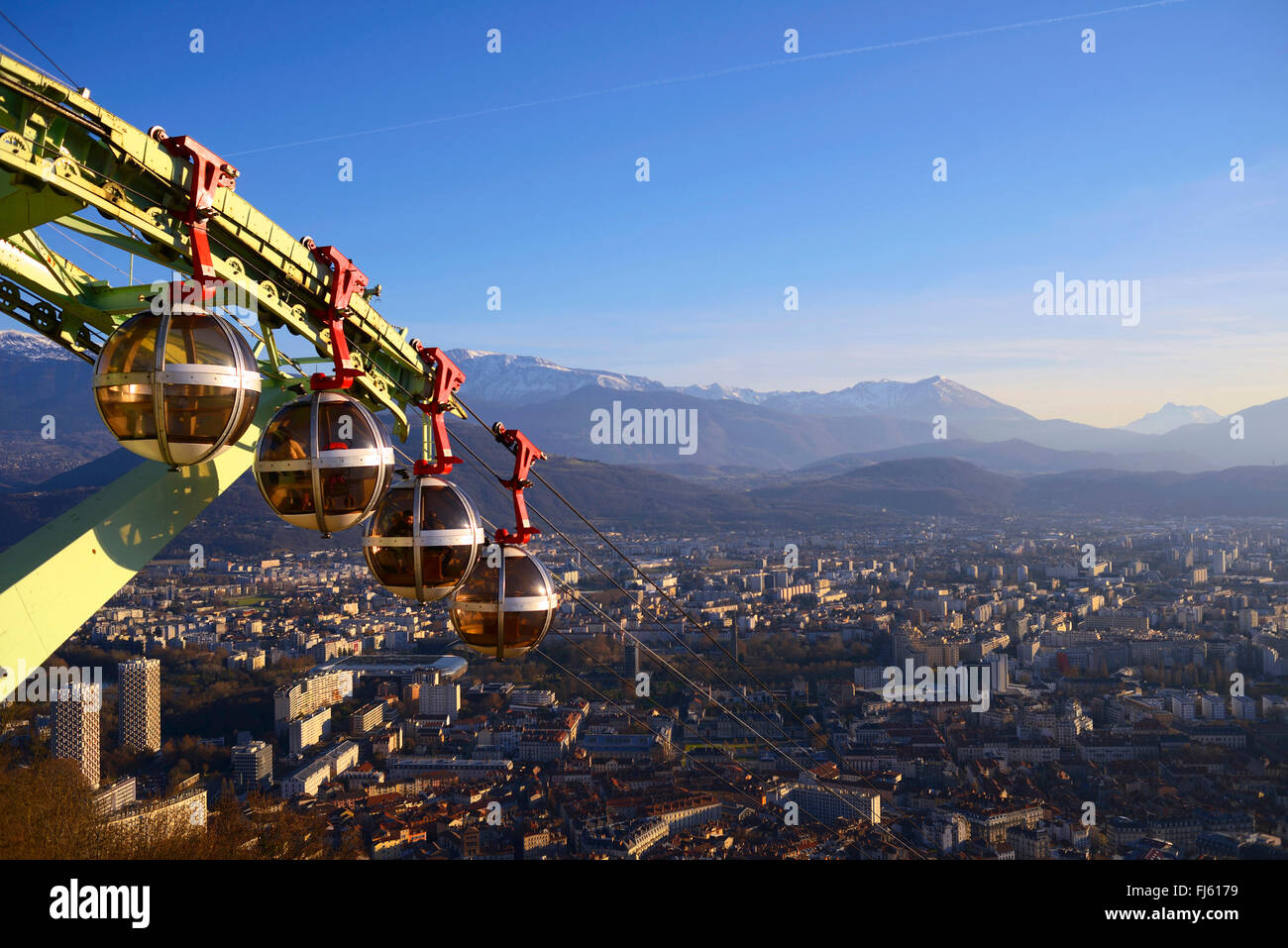 Cable car of Bastille over the town of Grenoble, France, Isere - Stock Image