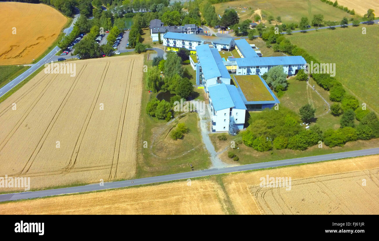 spa house Gesundheitszentrum An der Hoehle, air photo, 23.07.2015, aerial view , Germany, Baden-Wuerttemberg, Odenwald, - Stock Image