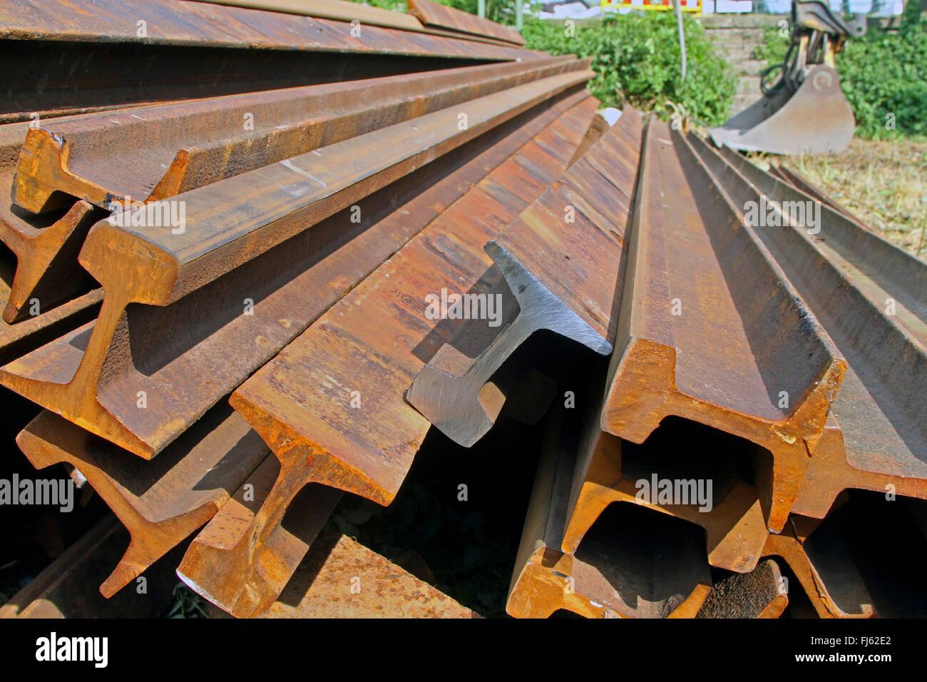 old railway tracks, Germany - Stock Image