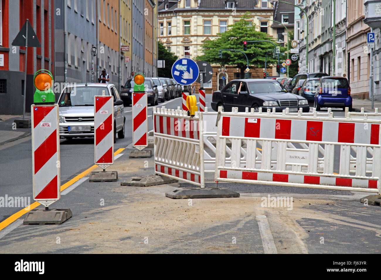 road construction barrier on a road, Germany - Stock Image