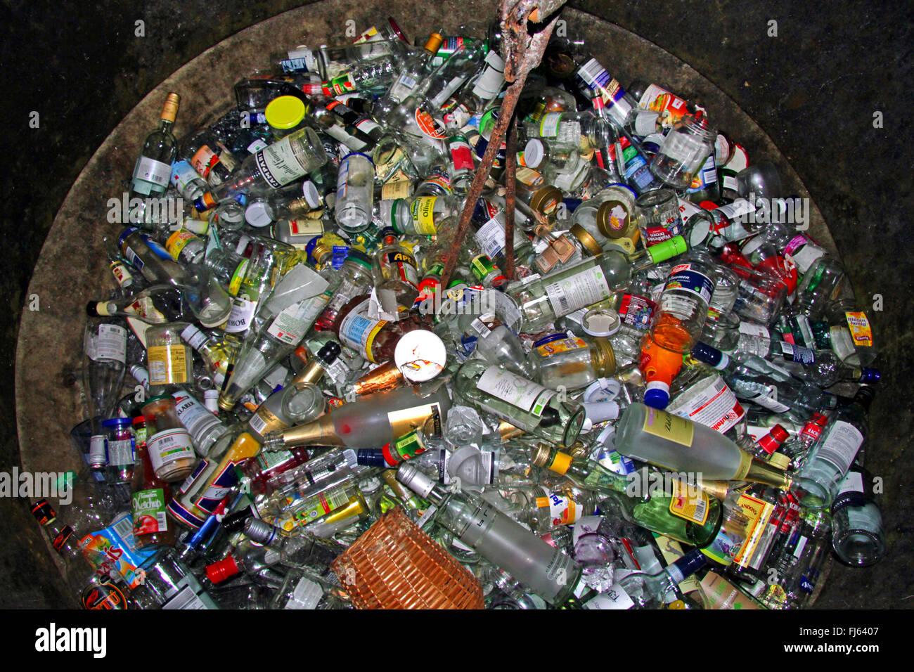 inside of a bottle bank, Germany - Stock Image