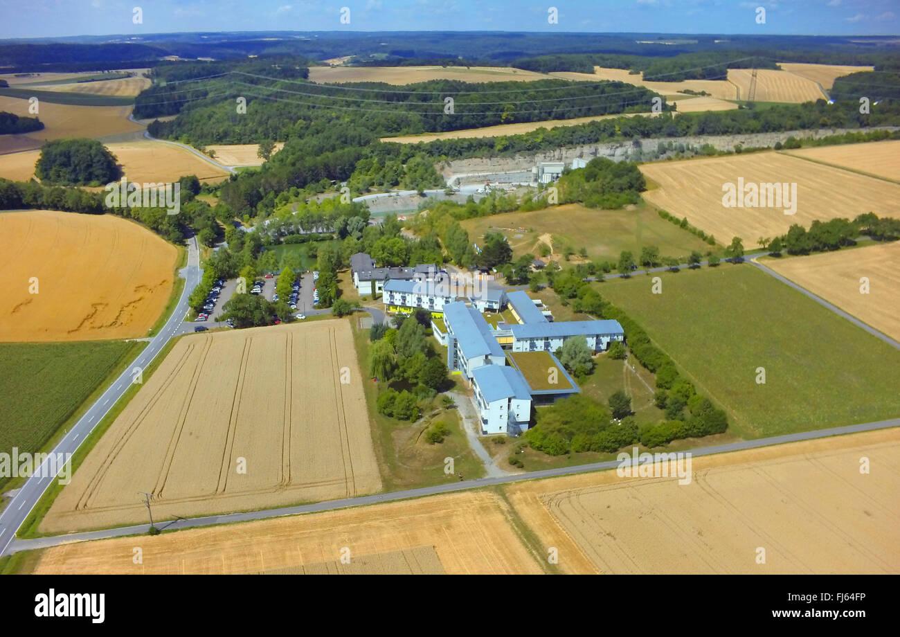 spa house Gesundheitszentrum An der Hoehle near Eberstadt, 23.07.2015, aerial view , Germany, Baden-Wuerttemberg, - Stock Image