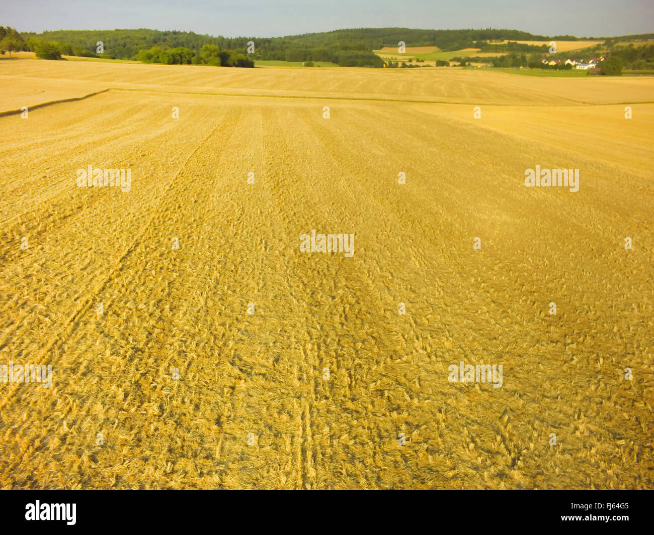 harvested wheat field, air photo, 23.07.2015, aerial view , Germany, Baden-Wuerttemberg, Odenwald - Stock Image