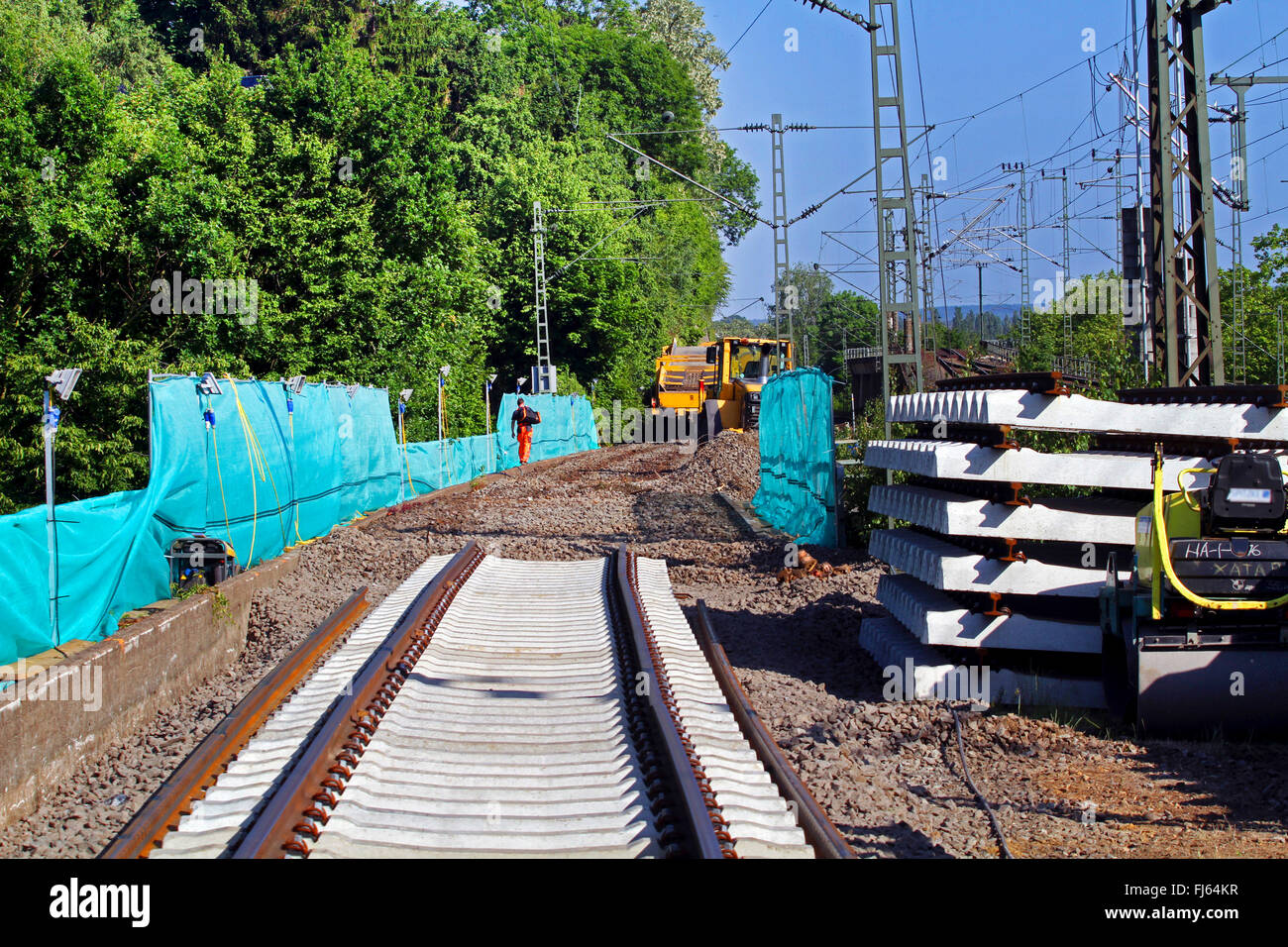 new modern track system with concrete sleepers, Germany - Stock Image