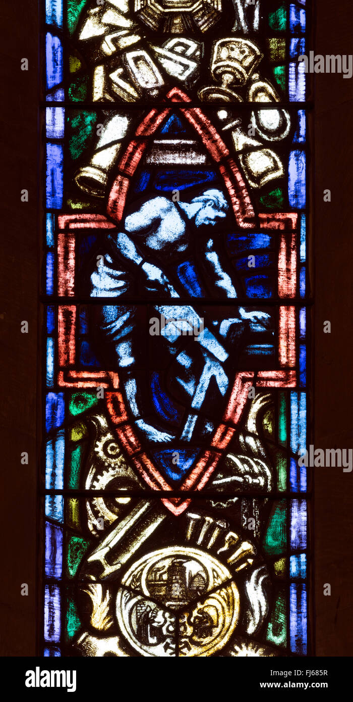 Black Country window in St Mark`s Church, Pensnett, West Midlands, England, UK - Stock Image