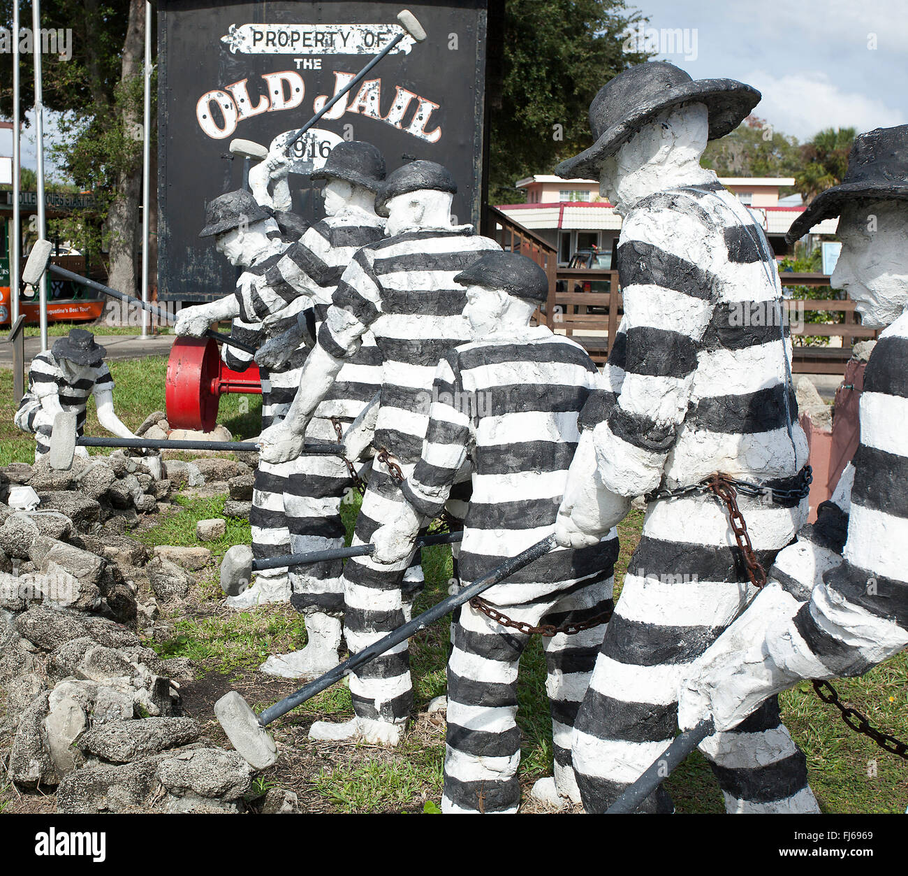 Sculptures of Chain Gang Convicts near the Old Jail Museum Complex in Historic St. Augustine Florida - Stock Image