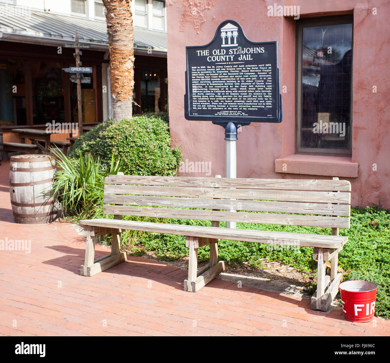 The Old St. Johns County Jail Sign (aka Authentic Old Jail) tells the history of the Old Jail in St. Augustine, - Stock Image