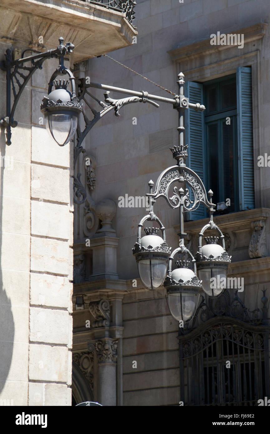 Decorative metal streetlights in the Ciutat Vella (Old City) Barcelona,Spain - Stock Image