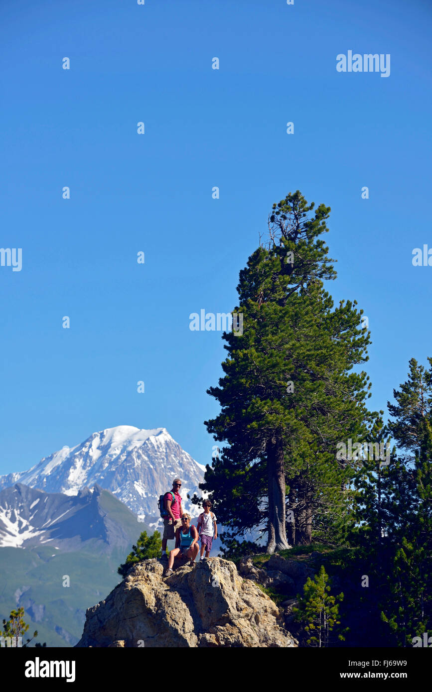 Family during a trek in Les Arcs Bourg saint Maurice, France, Savoie - Stock Image