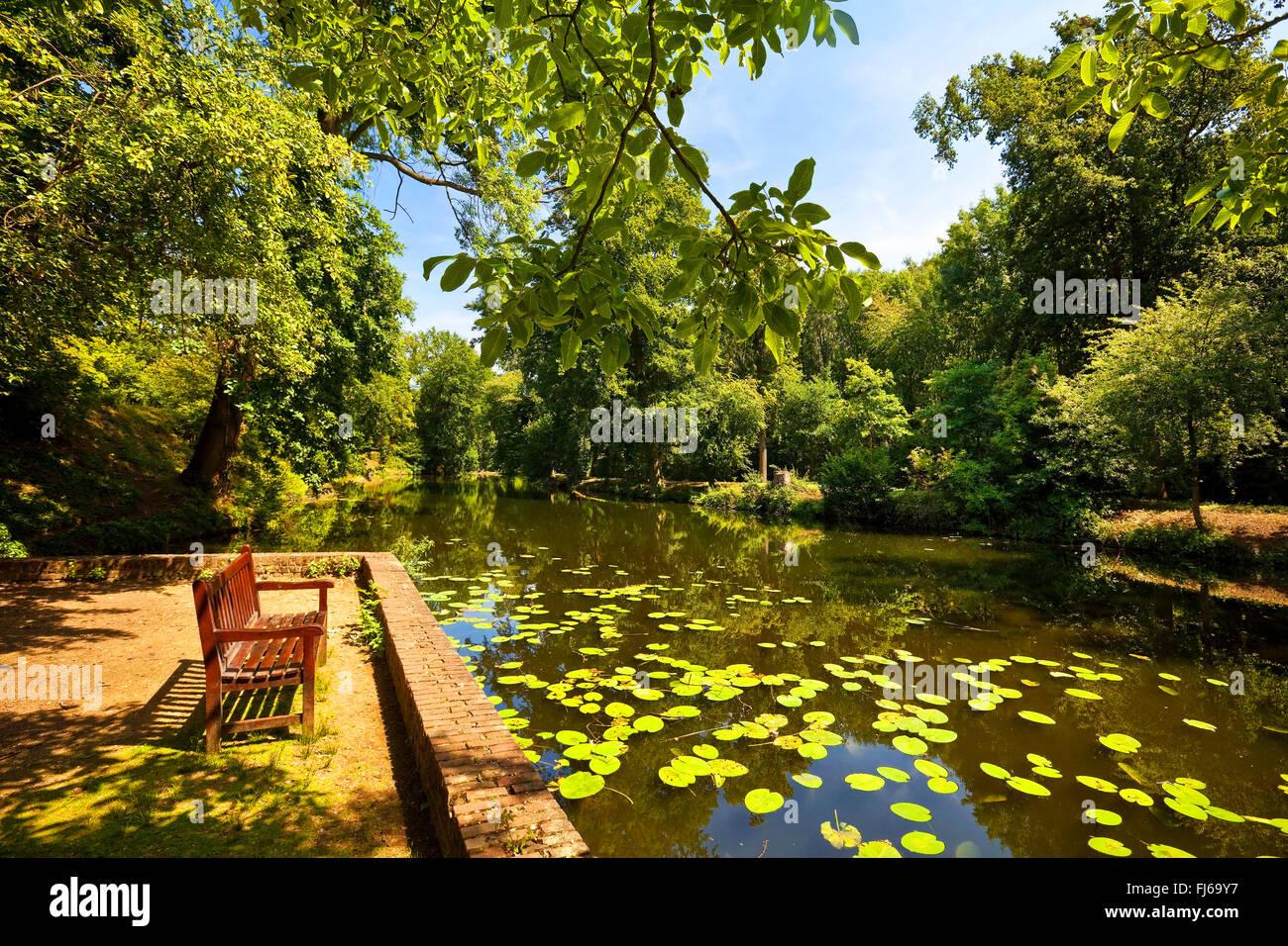 palace garden of Castle Rheydt, Germany, North Rhine-Westphalia, Lower Rhine, Moenchengladbach - Stock Image